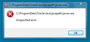 javapath javaw unspecified error